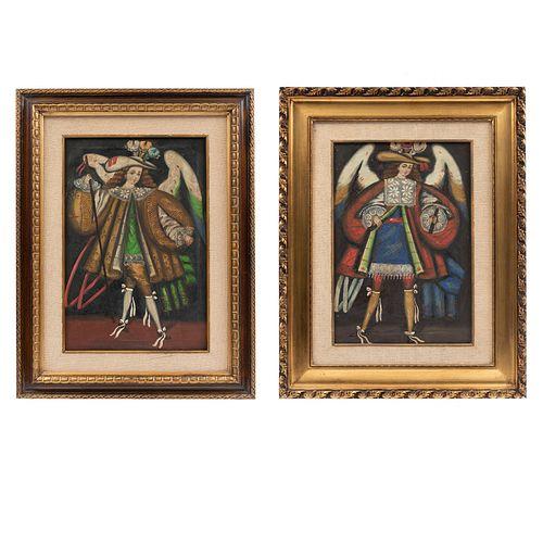 ANÓNIMO Par de Arcángeles arcabuceros. Escuela cuzqueña. Óleo sobre tela. 48 x 32 cm, cada uno. Piezas : 2.