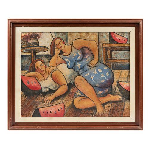 AÍDA E. Sin título. Firmada.  Mixta sobre tela. 70 x 90 cm Detalles de conservación en marco.