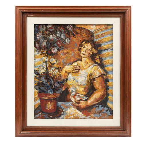 AIDA E.  Sin título. Firmada. Mixta sobre tela. 58 x 48 cm. Detalles de conservación. Enmarcada.