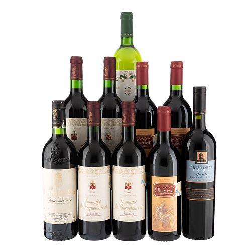 Vinos Tintos y Blancos de Argentina, Francia y España. a) Cristobal 1492. b) Minervois. Total de piezas: 10.