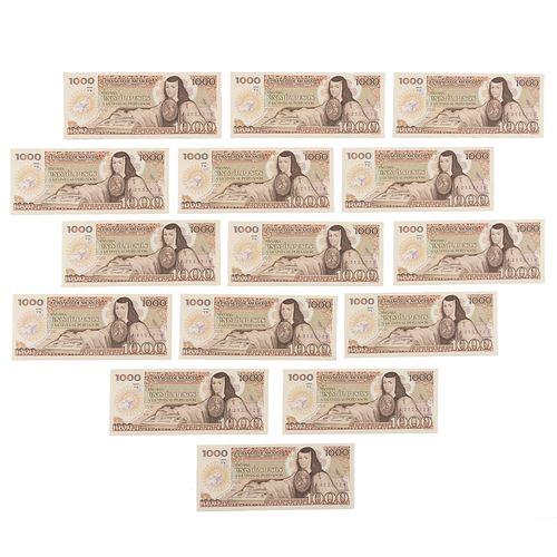 Lote de 15 billetes consecutivos. Mexico, 1985. Denominación de 1000 pesos con numeración consecutiva. Sin circular.