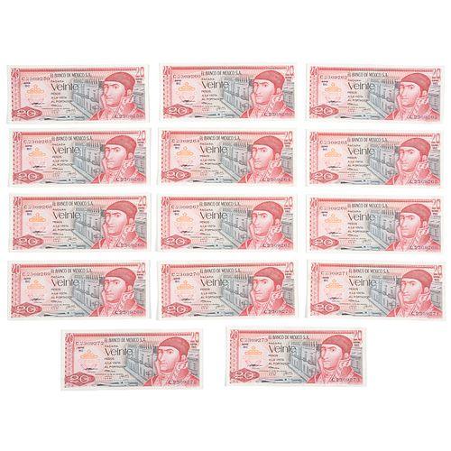 Lote de 15 billetes consecutivos. Mexico, 1972. Denominación de 20 pesos con numeración consecutiva. Sin circular.