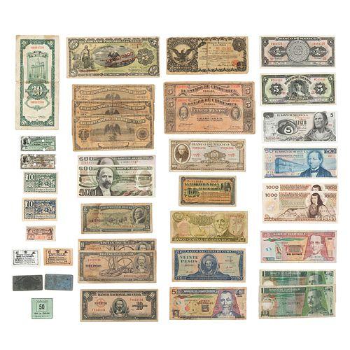 Lote de 38 billetes. México, Cuba, China, Guatemala, Alemania, EE. UU. y otros orígenes. SXX. Diferentes denominaciónes.