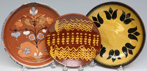 Three Redware Plates