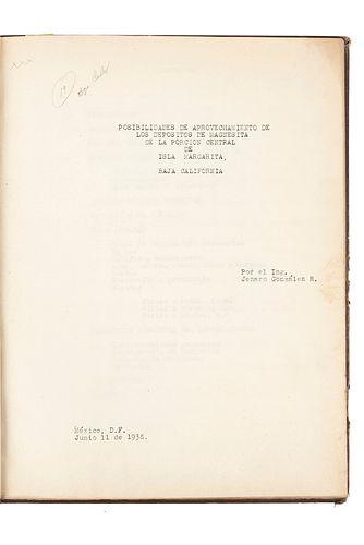 González, R. Jenaro. Posibilidades de Aprovechamientos de los Depósitos de Magnesita... México, 1938. Ilustrado. Firmado por autor.