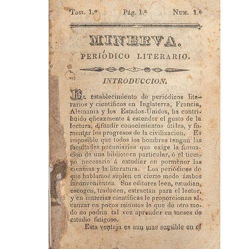 Heredia, José María. Minerva, Periódico Literario. México, 1834. Tomo I, Número 1.