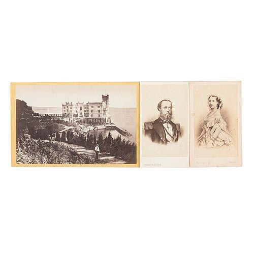 Retratos de Carlota y Maximiliano / Vista del Castillo de Miramar. 2 tarjetas de visita y una tarjeta cabinet. Piezas: 3.