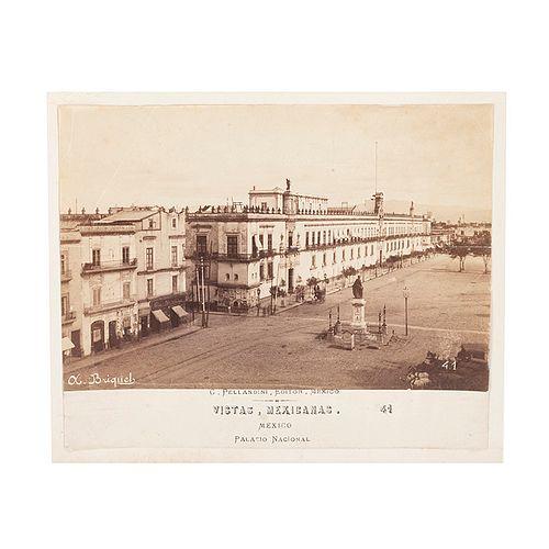 Briquet, Alfred. Vistas Mexicanas. Palacio Nacional. Fines del Siglo XIX.  Fotografía albúmina. 12.7 x 19.2 cm. Número 41.