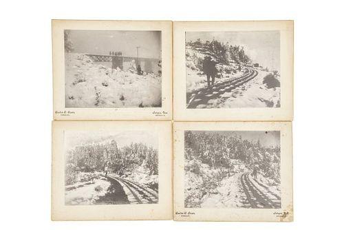 Cosio, Carlos C. Vía Férrea Jalapa - Veracruz. Siglo XX. Fotografías, 18.5 x 23.5 cm., montadas sobre cartón. Piezas: 4.