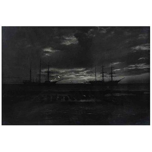 Brehme, Hugo. Crepúsculo en Laguna de Términos, Campeche. Firmada. Plata sobre gelatina, 62.5 x 92.5 cm. Enmarcada.