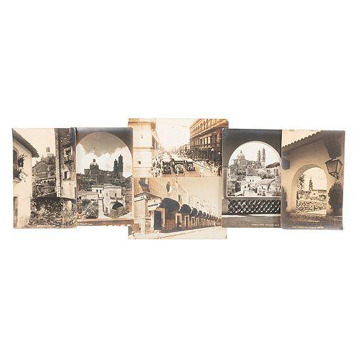 Brehme, Hugo. Vistas de Taxco, Puebla, Cuernavaca y México D. F., ca. 1920. Fotopostales. Piezas: 6.