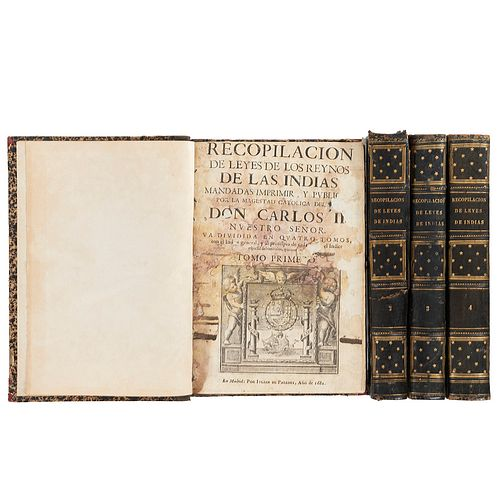 Recopilación de las Leyes de los Reynos de las Indias. Madrid: Iulian de Paredes, 1681. Primera impresión, primera edición. Piezas: 4.