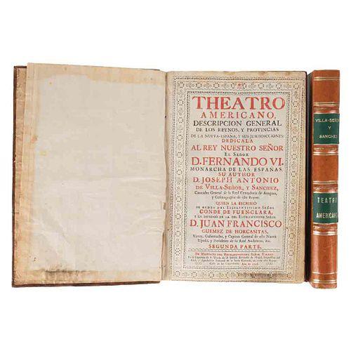 Villaseñor y Sánchez, Joseph Antonio de. Theatro Americano. Descripción General de los Reynos... Tomos I - II. 1 lámina. Piezas: 2.