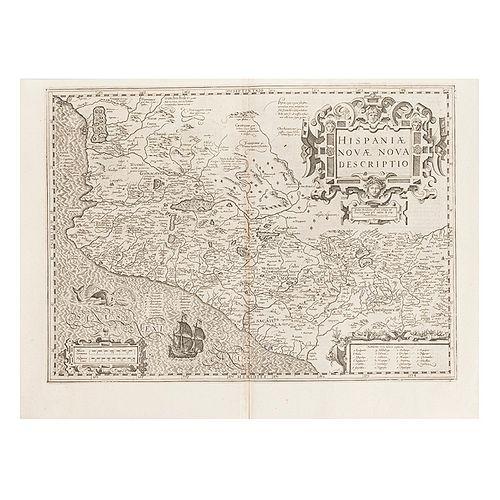 Mercator, Gerhard - Hondius, Jodocus. Hispaniae Novae Nova Descriptio. Amsterdam, ca. 1610. Mapa grabado, 35 x 48.5 cm.