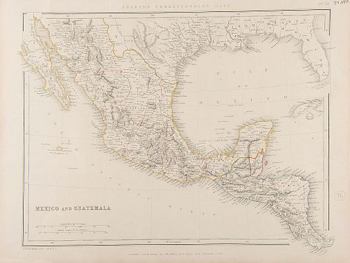 Sharpe's Corresponding Maps. Mexico and Guatemala. London, 1848. Mapa grabado con límites coloreados.