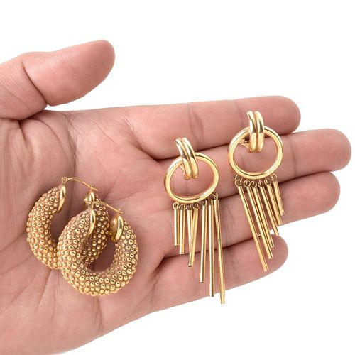 Two Pair Gold Earrings