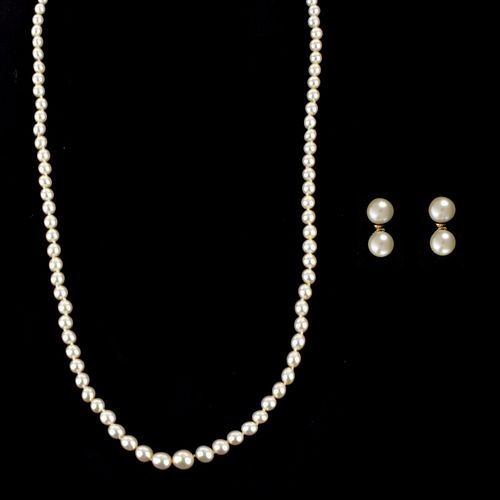 Pearl and 14K Necklace and Earrings