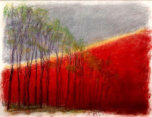 Wolf Kahn - Purple Trees, Orange Hill