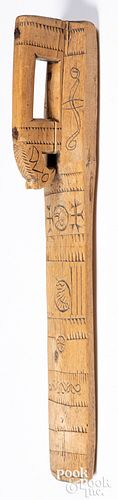 Scandinavian carved mangle board, 19th c.