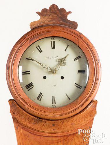 Scandinavian painted pine tall case clock, 19th c.