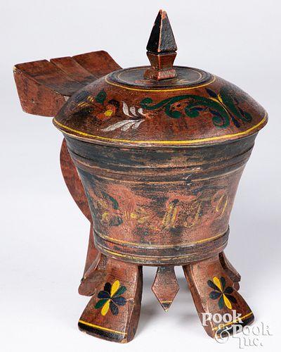 Scandinavian painted wood tankard, 19th c.