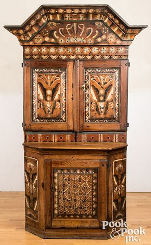 Scandinavian painted pine cupboard, dated 1796