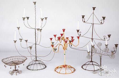 Four Scandinavian wire chandeliers, 20th c.