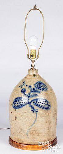 New York four-gallon stoneware jug table lamp