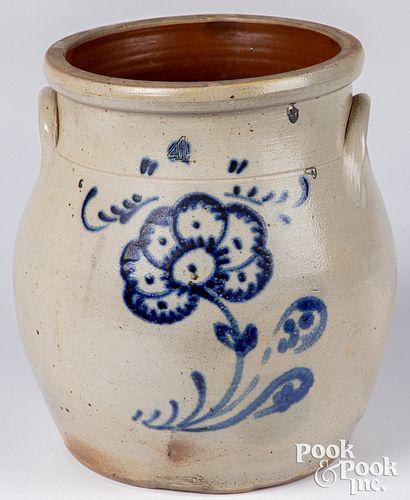 Four-gallon stoneware crock, 19th c.