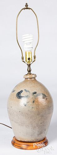 Two stoneware table lamps, 19th c.