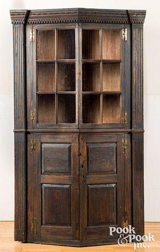 Painted pine turkey breast corner cupboard
