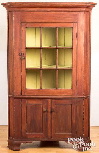 American painted pine one-piece corner cupboard