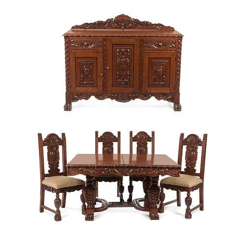Comedor. SXX. Elaborado en madera tallada. Decorados con motivos orgánicos, yelmos, veneras, roleos y columnas torzales. Pzs: 6