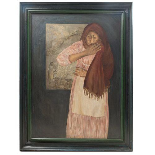 HELEN BICKHAM. Memories of Tepoztlán. Firmado. Óleo sobre tela. 127 x 90 cm