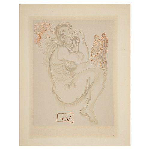 SALVADOR DALÍ. El sueño de Dante. Firmado en plancha. Xilografía sin número de tiraje. 24 x 18.5 cm. Sin marco.