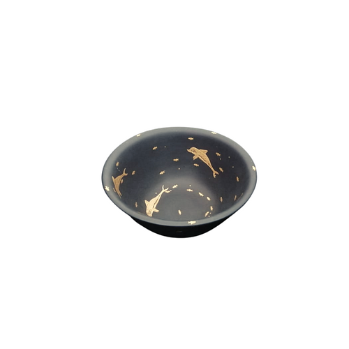 Masterpiece Bowl with gold dolphins inlaid