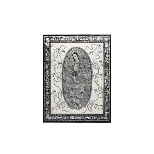 """Magnificent mother of pearl inlaid """"Guadalupana de Xalitla"""""""