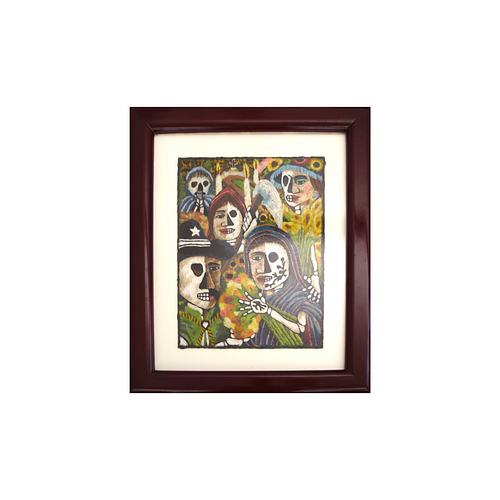"""Masterpiece feathered artwork of faces. One of a kind. """"Dualidad"""""""