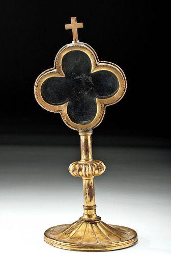 17th C. European Gilded Copper Reliquary