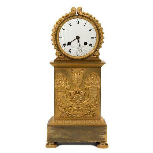 Leroy & Fils French Empire Gilt Mantle Clock