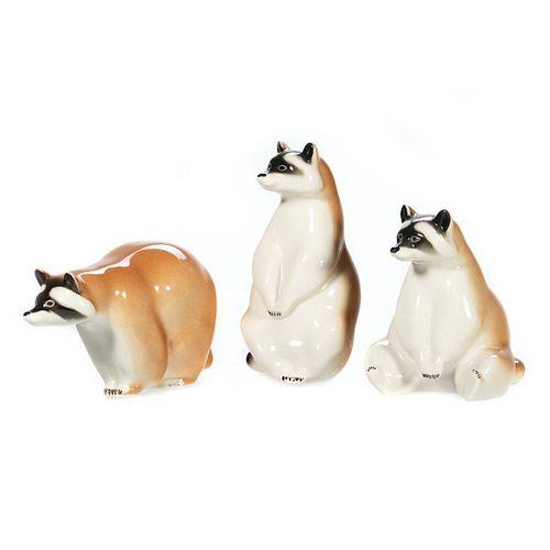 Russian Lomonosov Porcelain Raccoon Group