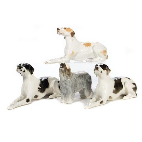 Russian Lomonosov Porcelain Group of Dogs