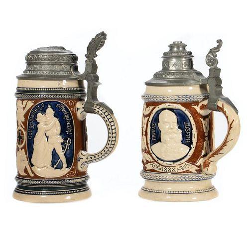 Geschutzt Ceramic and Pewter Steins