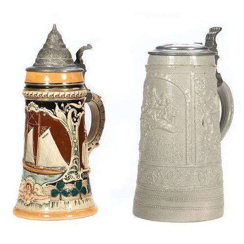 German Ceramic & Pewter Steins Honoring Kaiser Wilhelm I