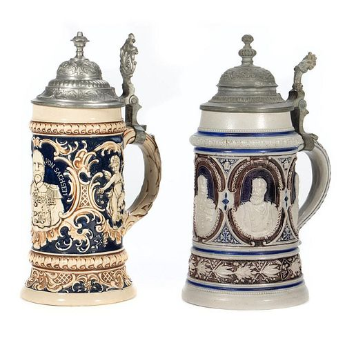 Ceramic and Pewter Steins