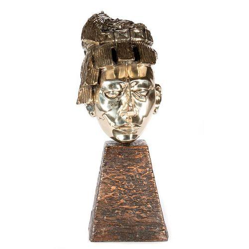 Silvered Bust of Aztec Warrior