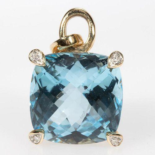 Blue topaz, diamond and 14k gold pendant