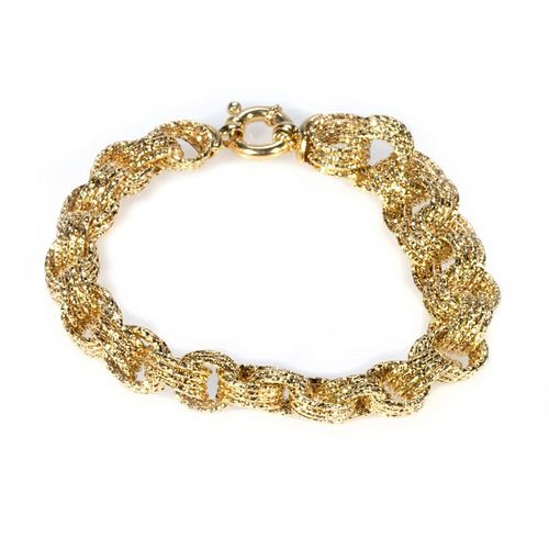 14k gold hollow link bracelet, Italy