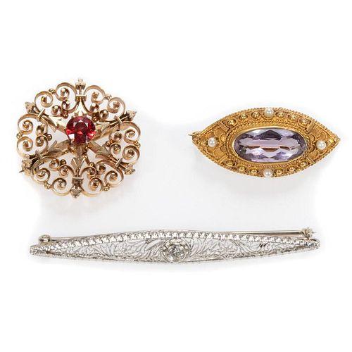 Antique diamond, gem-set , 14k gold bar pins