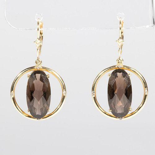 Pair of smoky quartz, diamond and 14k gold earrings